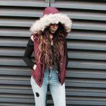 Aeropostale lookbook: Maroon faux fur vest