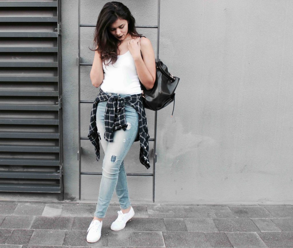 White tee and denim outfit