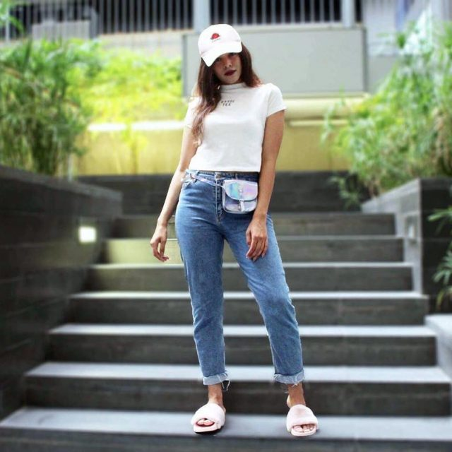 White tee and denim jeans kinda day tap for outfithellip