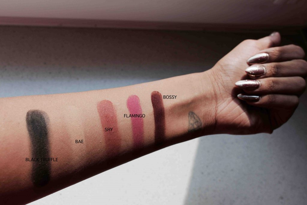 Swatches of Huda Beauty Palette