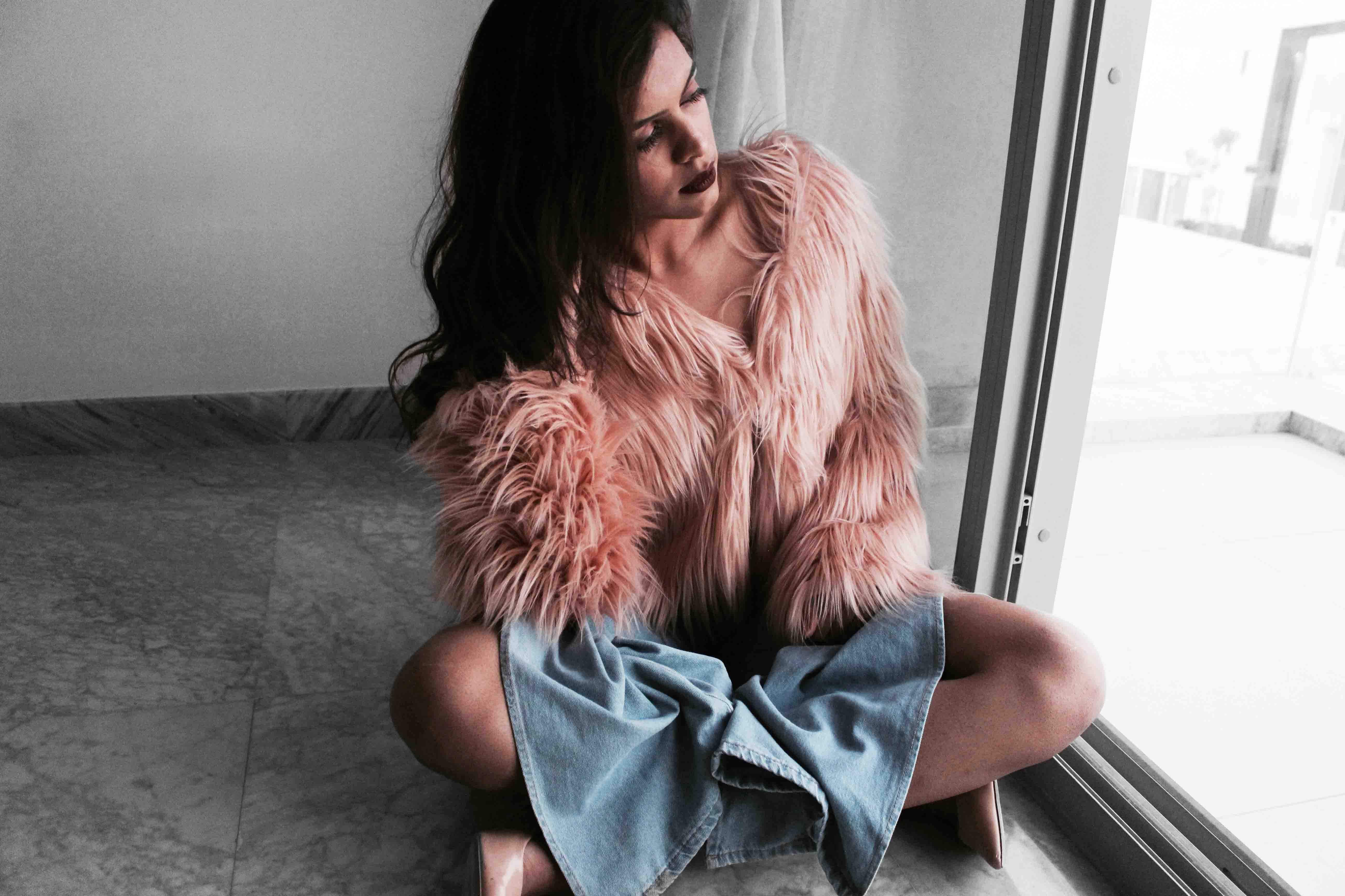 Fur pink coat