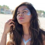 Coachella inspired glitter festival look