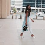 Work attire: Pastel blues and whites